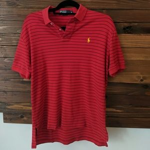 Red & Navy Striped Polo. Stretch-knit.
